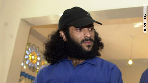Hezam Mujalli pictured during an appeal hearing session at a Sanaa court, Yemen in December 2004.