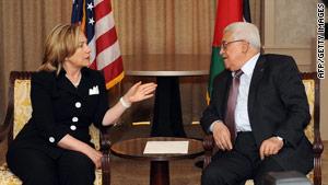 U.S. Secretary of State Hillary Clinton meets Palestinian Authority President Mahmoud Abbas in Arlington, Virginia.