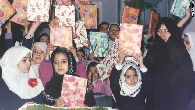 Sakineh Mohammadi Ashtiani, right, pictured in 2004 at a daycare in Osko, Iran. Her family says she worked there for two years.
