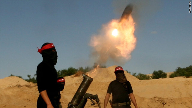 Palestinian militants launch a mortar during training on April 8, 2010. Israel says recent mortars contained white phosphorous.