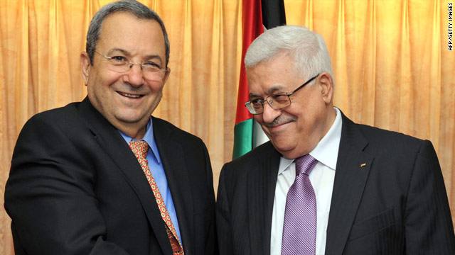 Israeli Defense Minister Ehud Barak meets with Palestinian president Mahmud Abbas in New York on Wednesday.