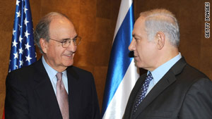 Prime Minister Benjamin Netanyahu, right, told U.S. envoy George Mitchell he is committed to peace.