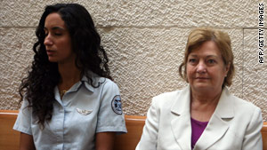 Nobel Peace Prize winner Mairead Maguire, right, appears at the Israel Supreme Court on Monday.