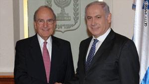 U.S. Mideast peace envoy George Mitchell, left, meets with Israeli Prime Minister Benjamin Netanyahu.