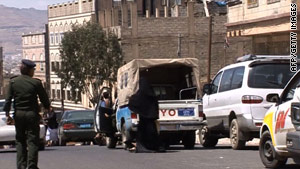 The scene of Wednesday's attack in Sanaa.
