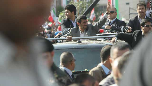 Iran's President Mahmoud Ahmadinejad crosses Beirut airport highway on his first visit to the country on Wednesday.