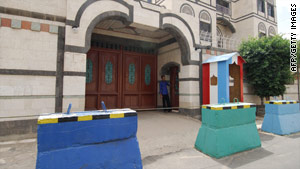 The French Cultural Center takes security precations in the Yemeni capital of Sana'a last week.