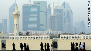 Muslim women arrive for prayers last month at a Dubai mosque to mark the end of Ramadan.