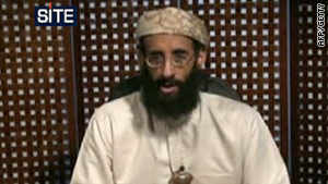 Militant cleric Anwar al-Awlaki, pictured in a video released by the SITE Intelligence Group on October 23.
