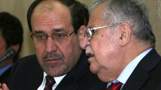 Iraqi Prime Minister Nuri al-Maliki, left, and President Jalal Talabani held talks in Irbil on Monday.