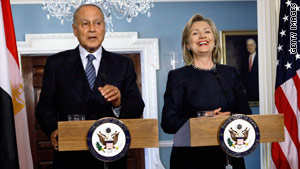 Secretary of State Hillary Clinton holds a news briefing with Egyptian Foreign Minister Aboul Gheit on Wednesday.