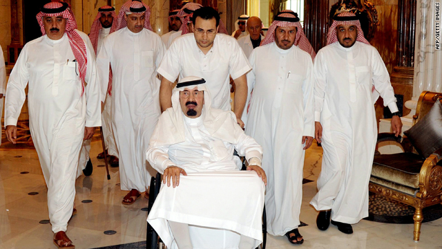 Saudi King Abdullah, in a wheelchair, arrives at his palace in Riyadh last Friday in this Saudi Press Agency handout picture.
