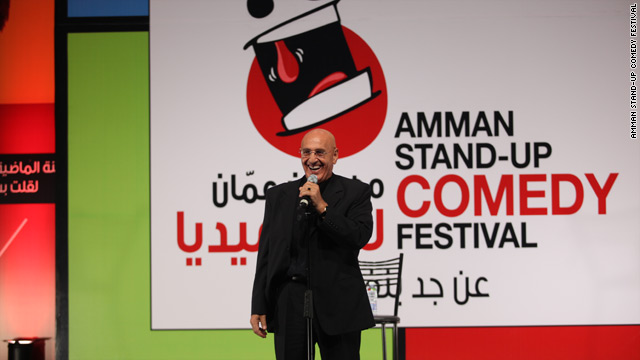Jordanian stand-up comedian Nabil Sawalha takes to the stage in Amman.