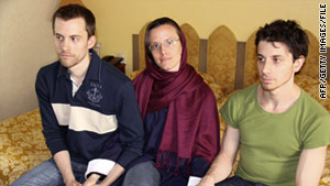 A photo from May shows American hikers Shane Bauer, left, Sarah Shourd and Josh Fattal in Iran.