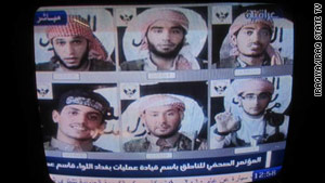 Iraqiya TV has run these photos of these men suspected in three recent attacks. They say these are non-Iraqi Arabs.