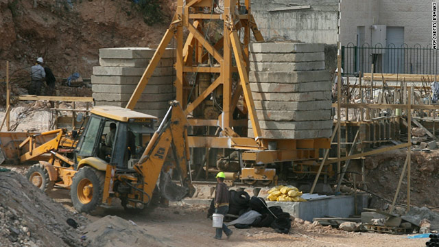 Construction work underway in the Jewish settlement of Kiryat Arba'a outside Hebron in the West Bank on November 24, 2010.
