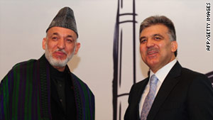 Hamid Karzai (left) made the statement during a press conference with Turkish President Abdullah Gul (right).