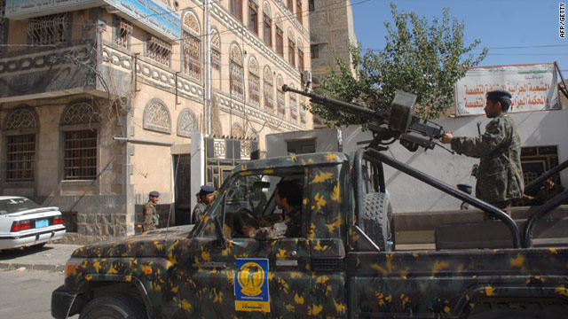 Yemeni security forces on patrol in the capital Sanaa -- the country is expanding its anti-terror forces says the government.