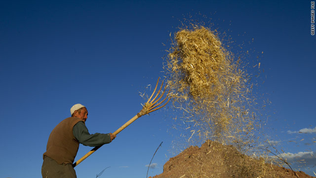 An Afghan farmer sifts the wheat during the fall harvest on October 10 in Bamiyan, Afghanistan.