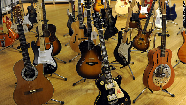 A selection of the Eric Clapton guitars on sale.