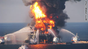 Boats battle a fire on the Deepwater Horizon rig on April 21, 2010.