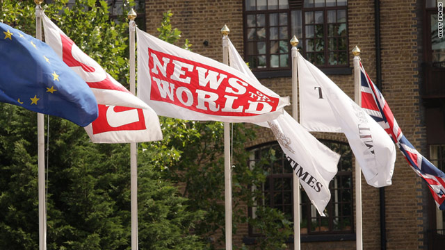 A News of The World flag flies at the News International printing plant at Wapping on July 9, 2009 in London.