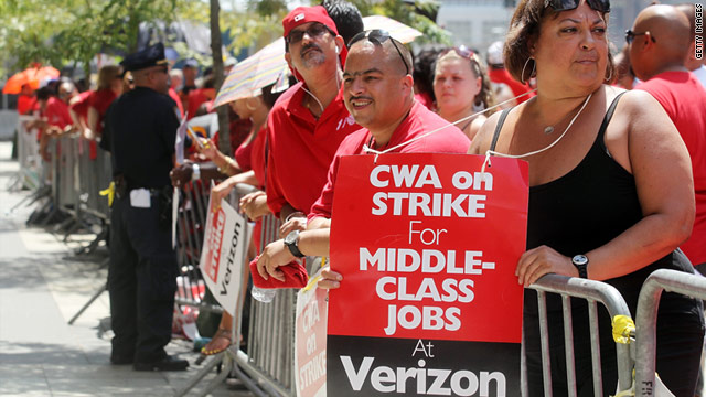 Union leaders say Verizon is demanding rollbacks of wages, benefits and union rules while posting billions in profits.