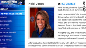 Heidi Jones, who weather reports for WABC-TV, has been suspended by the station pending an internal investigation.