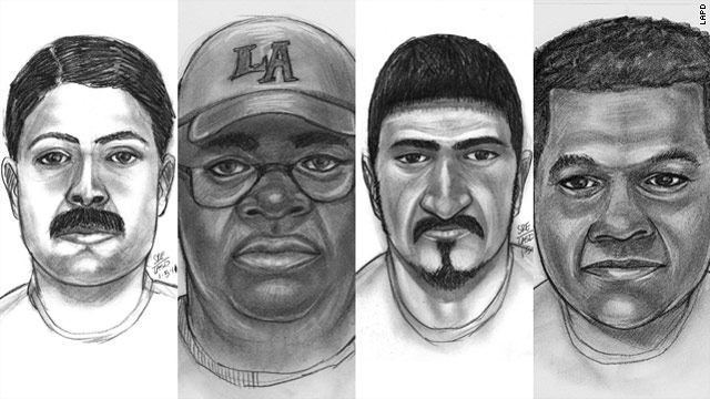 Los Angeles officials seek the public's help in identifying these men depicted in drawings made using the videos.