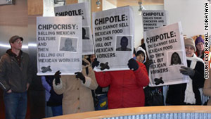 Protesters in Minnesota object to Chipotle's treatment of its workers.