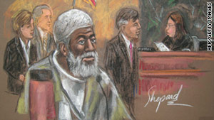 A courtroom sketch shows Russell Defreitas Thursday at his sentencing hearing in New York.