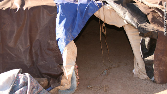 The sweat lodge used by James Arthur Ray was about 5 feet high, made of branches covered with tarps.