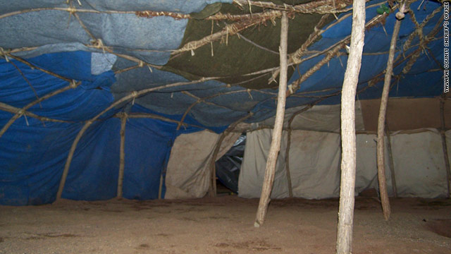 An evidence photo from the Yavapai County Sheriff's Office shows the interior of the sweat lodge where three people died.