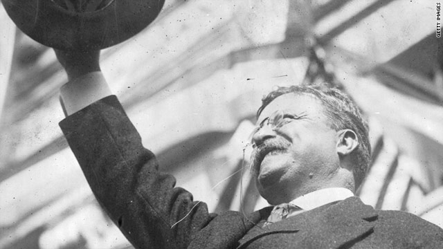 During a speech ex-President Theodore Roosevelt was shot and wounded. The bullet stayed in his body for the rest of his life.