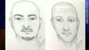 Authorities released these composite sketches of the two assailants who attacked the Giants fan at Dodgers Stadium.