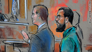 Farooque Ahmed, right in an artist's rendering, appears at an October hearing. He was sentenced to 23 years in prison.