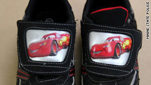 Police released a photo on Tuesday of sneakers from a small boy's body that was found in Maine on Saturday.