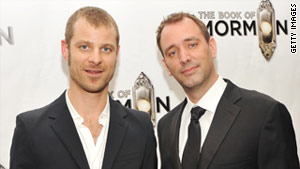 """South Park"" creators Matt Stone, left, and Trey Parker, were the targets of online threats, officials say."