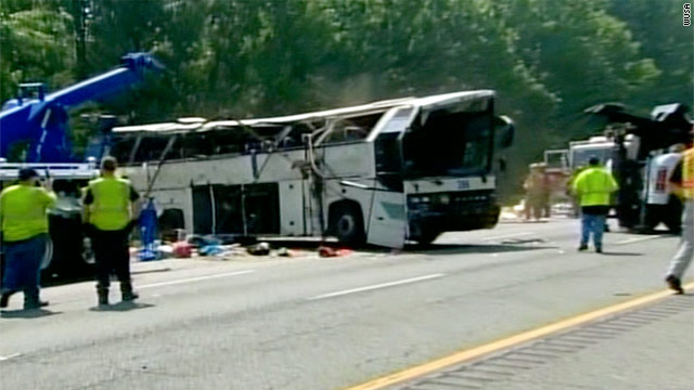 Four people were killed Tuesday when a Sky Express bus ran off I-95 near Fredericksburg, Virginia, and overturned.