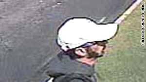 Police released two photos of a suspect, taken from surveillance video.
