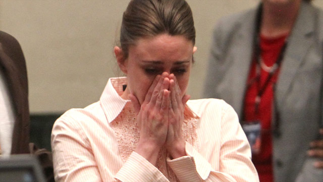 Casey Anthony reacts Tuesday after she was found not guilty of first-degree murder in her daughter's 2008 death.