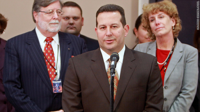 Jose Baez, lead defense attorney for Casey Anthony, answers questions after the jury found his client not guilty.