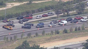 Vehicles on the Baltimore-Washington Parkway were directed to turn around on an entrance ramp Wednesday afternoon.