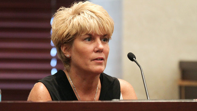 Cindy Anthony testifies during her daughter's murder trial in Orlando on June 30.