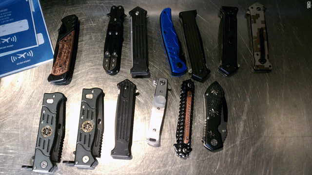 A TSA agent confiscated 13 knives from an airline passenger who said he collects knives.