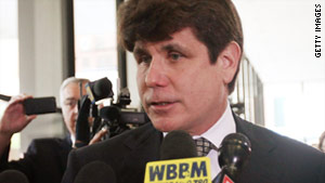 Former Gov. Rod Blagojevich speaks to the media following a guilty verdict in his corruption retrial last month.