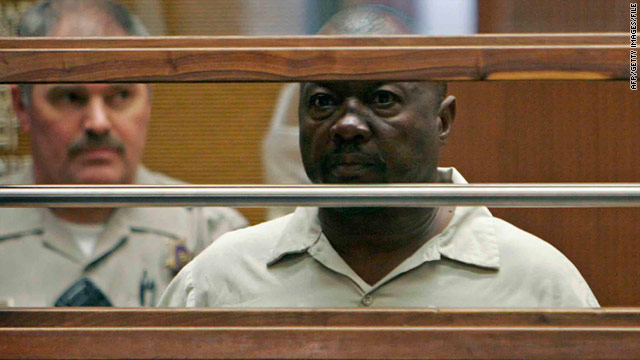 Suspected &quot;Grim Sleeper&quot; serial killer Lonnie Franklin, Jr., is shown at his arraignment in Los Angeles, in 2010.