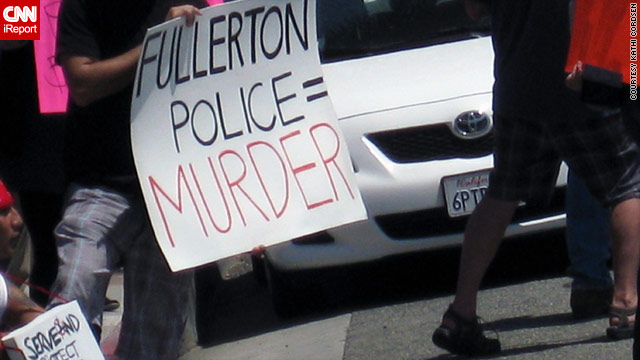 Residents of Fullerton, California, protest the death of Kelly Thomas in front of the Fullerton County Police Department last week.