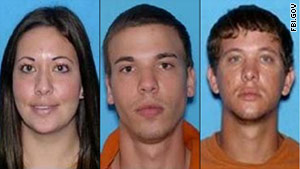 Lee Grace and Ryan Edward Dougherty, center, and Dylan Dougherty Stanley were caught after an alleged crime spree.