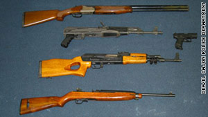 Authorities have seized 34 firearms in addition to bombs, luxury cars, drugs and cash.